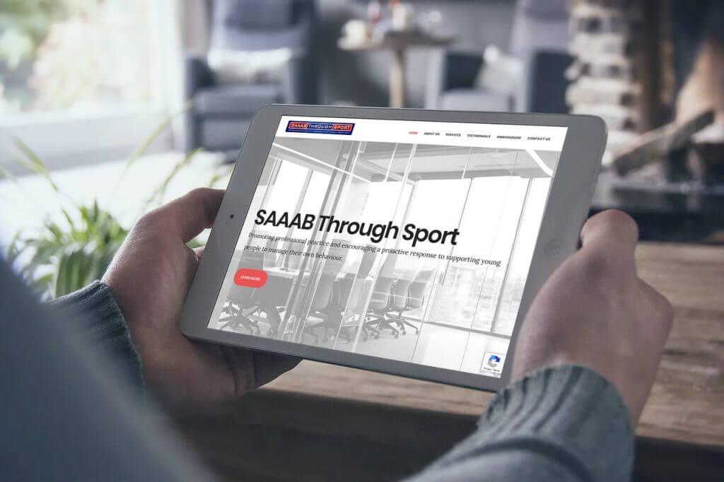 SAAAB Through Sport website screenshot.